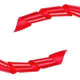 Red curled ribbon frame Stock Image