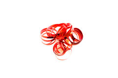 Red curling ribbon isolated on white Stock Photo