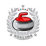 Red curling stone in center of silver holy wreath. Sport logo for any darts game. Or championship royalty free illustration