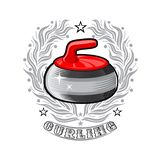 Red curling stone in center of silver wreath. Sport logo for any darts game. Or championship royalty free illustration
