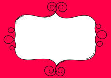 Red Curls Baroque Frame Border. Border frame invitation card with red background Stock Images