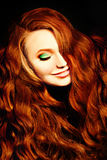 Red Curly Hair Girl Fashion Model. Redhead Woman royalty free stock image