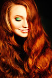Red Curly Hairstyle Woman. Fashion Portrait royalty free stock photography