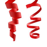 Red curly ribbon. Two red tape. Frizz. Satin Stock Photo