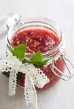 Red currant berries jam in a jar Royalty Free Stock Photos