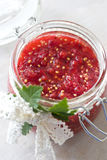 Red currant berries jam in a jar Stock Photos