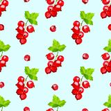 Red currant berries seamless pattern on light blue background royalty free illustration