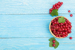 Red currant berries in a wooden bowl with leaf on the blue wooden background. Top view Stock Images