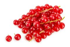 Red currant berry isolated on white background. Top view. Flat lay pattern.  stock photo