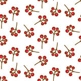 Red currant berry seamless pattern on white. Stock Photos