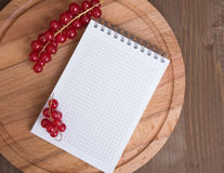 Red currant and blank notepad Stock Image