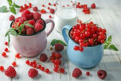 Red currant and raspberries. Red currant in a blue mug next to the raspberries in the pink mug Stock Image