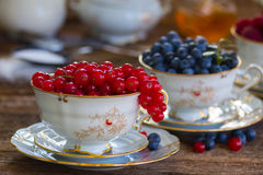 Red currant and blueberry in cups. Red currant and blueberry in china cups on wooden table Stock Image