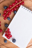 Red currant, blueberry and notepad Stock Image