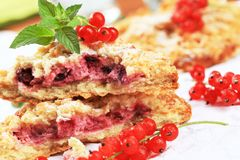 Red currant cake. Detail of red currant cake stock photo