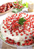 Red currant cake. Fresh red currant cake on table royalty free stock photos