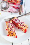 Red currant cake. On white backgroud royalty free stock photography