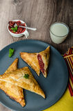 Red currant cheesecake-puzzle Royalty Free Stock Photo