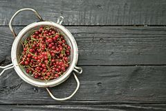 Red currant in a colander. On a black wooden table stock photography