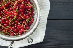 Red currant in a colander. On a black wooden table royalty free stock photos