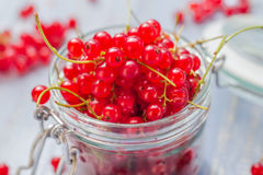 Red currant fruit jar wooden table Royalty Free Stock Photos