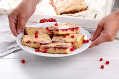 Red currant fruit pie bars with meringue on top.  royalty free stock photography