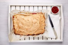 Red currant fruit pie with meringue on top. Top view.  stock image
