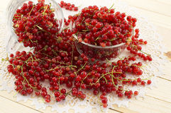 Red currant in glass bowls Royalty Free Stock Photos