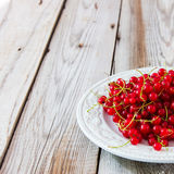 Red currant on grey wooden background. Red currant on blue plate on wooden background Royalty Free Stock Photography
