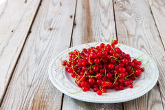 Red currant on grey wooden background. Red currant on blue plate on wooden background Royalty Free Stock Photos