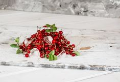 Red currant with ice and green leaves on white wooden background. Still life of food. Cubes of ice with berries. Red currant with ice and green leaves on white royalty free stock photography