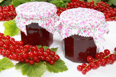 Red currant jam. Two glasses of homemade red currant jam with fresh fruits and leaves royalty free stock photos