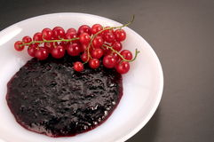 Red currant jam. Fresh Red currant and jam served on white plate stock image