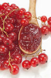 Red currant jam with fresh fruits Stock Images