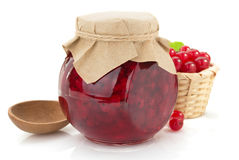 Red currant jam on white Royalty Free Stock Photo