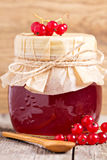 Red currant jelly in a jar Stock Photo