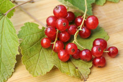 Red currant. With leaves on wooden ground Royalty Free Stock Photos