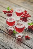 Red currant liquor with sugar and mint. Selective focus and toned image stock photo