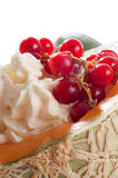 Red currant over whipped cream Stock Photos