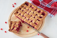 Red currant pie on board Stock Images