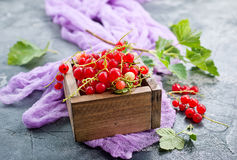 Red currant. In wooden box,stock photo stock photo