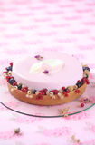 Red Currant, Rose and Lychee Mousse Cake Royalty Free Stock Photography