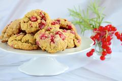 Red currant rosemary cookies. Homemade baked red currant rosemary cookies Royalty Free Stock Photography
