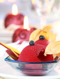 Red currant sorbet for Christmas. Red currant sorbet or ice cream for Christmas Royalty Free Stock Image