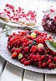 Red currant sponge cake. Plate with Assorted summer berries, raspberries, strawberries, cherries, currants, gooseberries. Fresh summer garden fruit Stock Photos