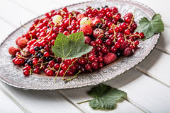 Red currant sponge cake. Plate with Assorted summer berries, raspberries, strawberries, cherries, currants, gooseberries. Stock Photo