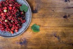 Red currant sponge cake. Plate with Assorted summer berries, raspberries, strawberries, cherries, currants, gooseberries. Stock Image