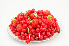 Red currant and strauberry. An fruit plate of red berries and strawberry Royalty Free Stock Image