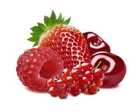 Red currant, strawberry, raspberry, cherry isolated. Red berries - currant, strawberry, raspberry, cherry isolated on white background royalty free stock image
