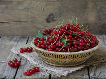 Red currants in a basket. On a wooden background stock image